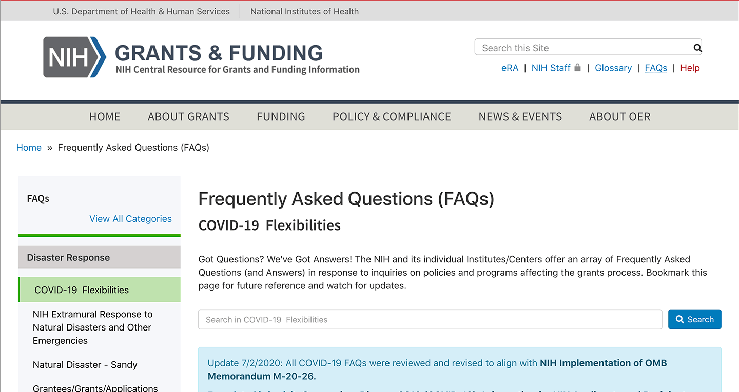 Screenshot of https://grants.nih.gov/faqs#/covid-19.htm