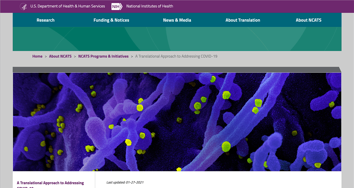Screenshot of https://ncats.nih.gov/covid19-translational-approach
