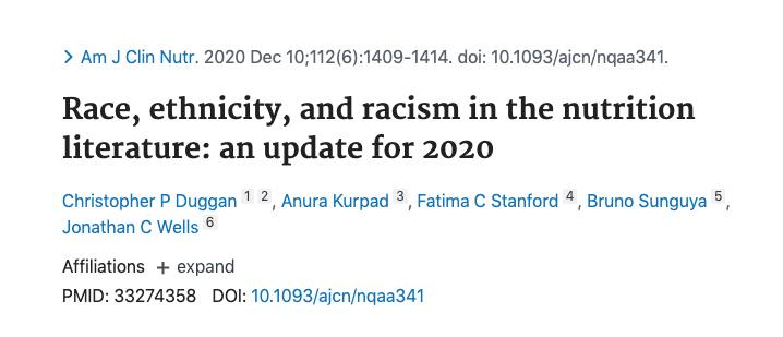Race, ethnicity and racism in the nutrition literature: an update for 2020 image